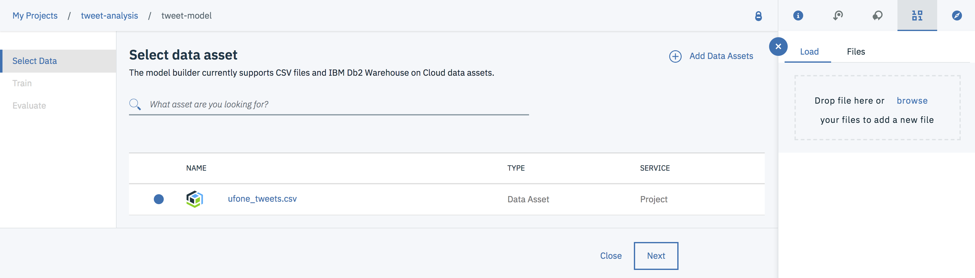 Build a predictive model on Watson Studio using CSV data set