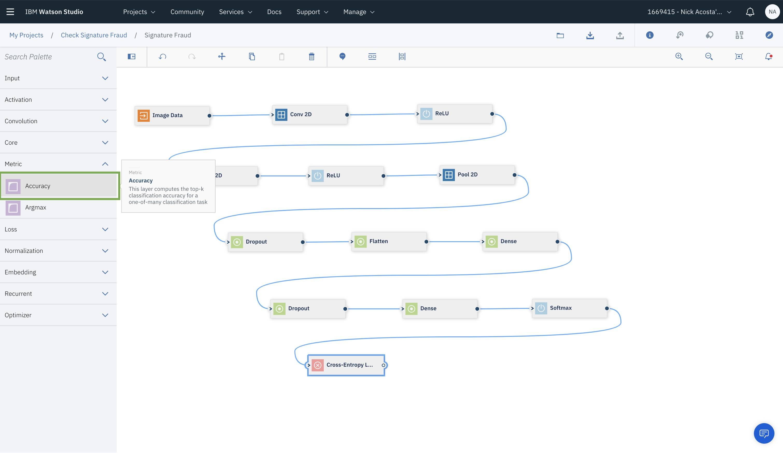 Deep learning models using Watson Studio Neural Network Modeler and
