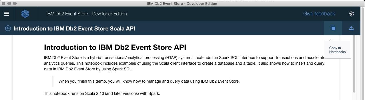 Figure 1. Db2 Event Store Screen Cap.