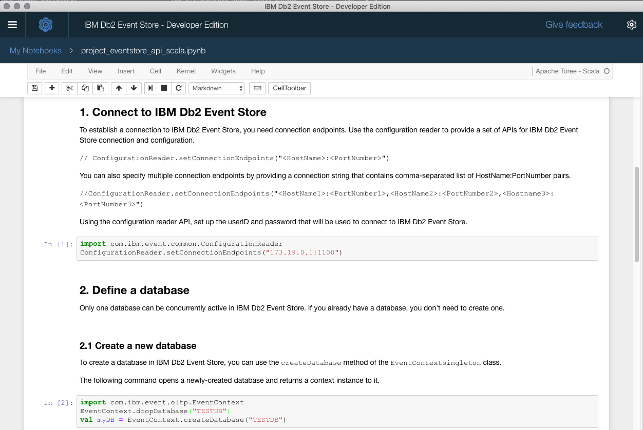 Figure 2. Db2 Event Store Screen Cap.
