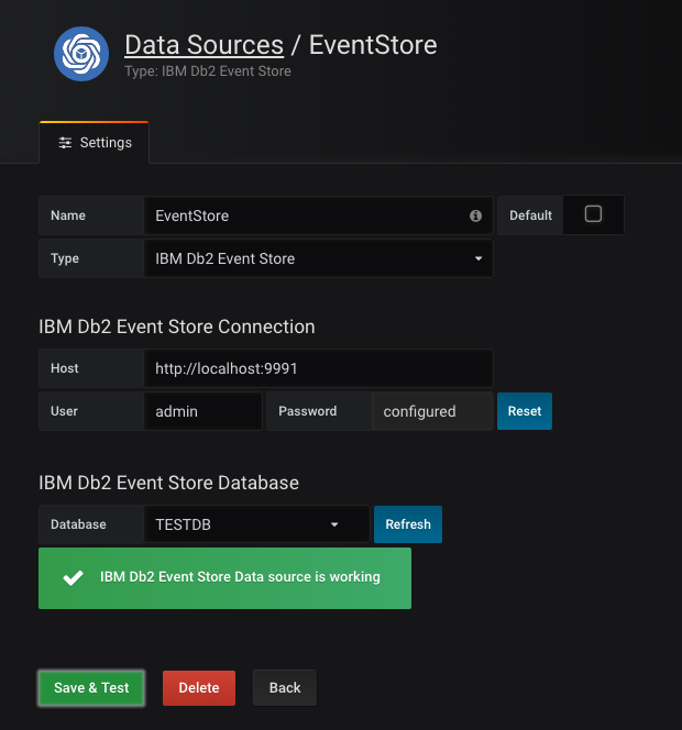 Figure 3. Add a new Data Source to the IBM Db2 Event Store.